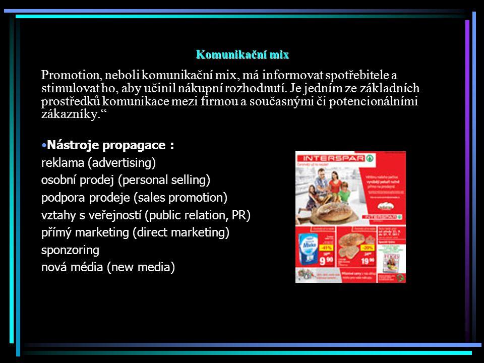 Komunikační mix Promotion, neboli komunikační mix, má informovat spotřebitele a stimulovat ho, aby učinil nákupní rozhodnutí. Je jedním ze základních