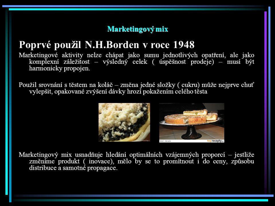 Marketingový mix Poprvé použil N.H.Borden v roce 1948 Marketingové aktivity nelze chápat jako sumu jednotlivých opatření, ale jako komplexní záležitos