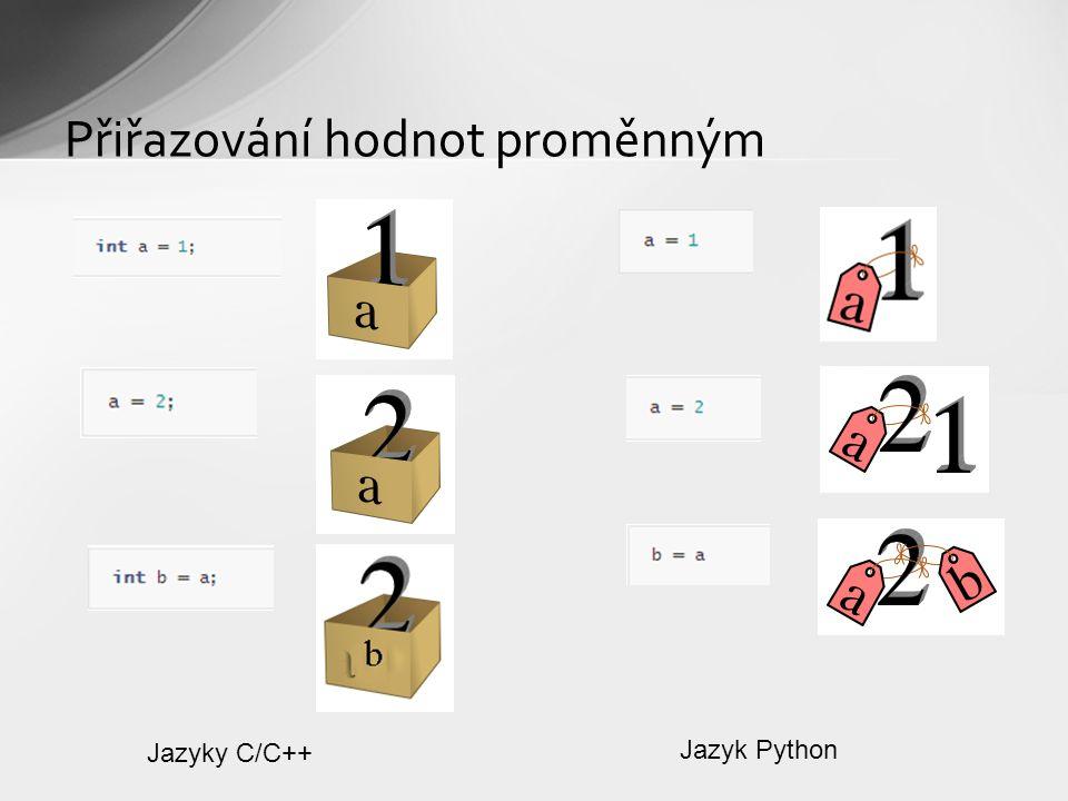 Přiřazování hodnot proměnným Jazyky C/C++ Jazyk Python