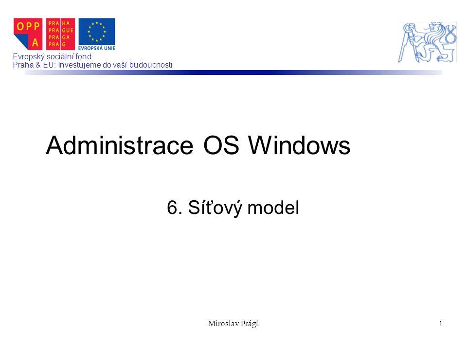 Evropský sociální fond Praha & EU: Investujeme do vaší budoucnosti 6. Síťový model Administrace OS Windows 1Miroslav Prágl