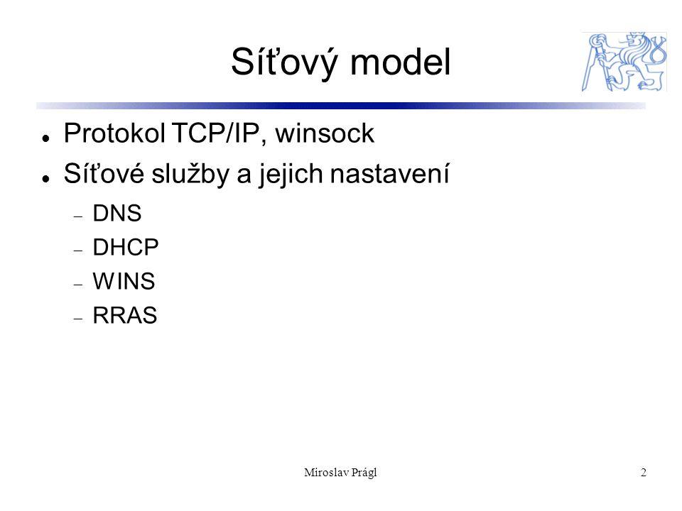2 Síťový model Protokol TCP/IP, winsock Síťové služby a jejich nastavení  DNS  DHCP  WINS  RRAS Miroslav Prágl