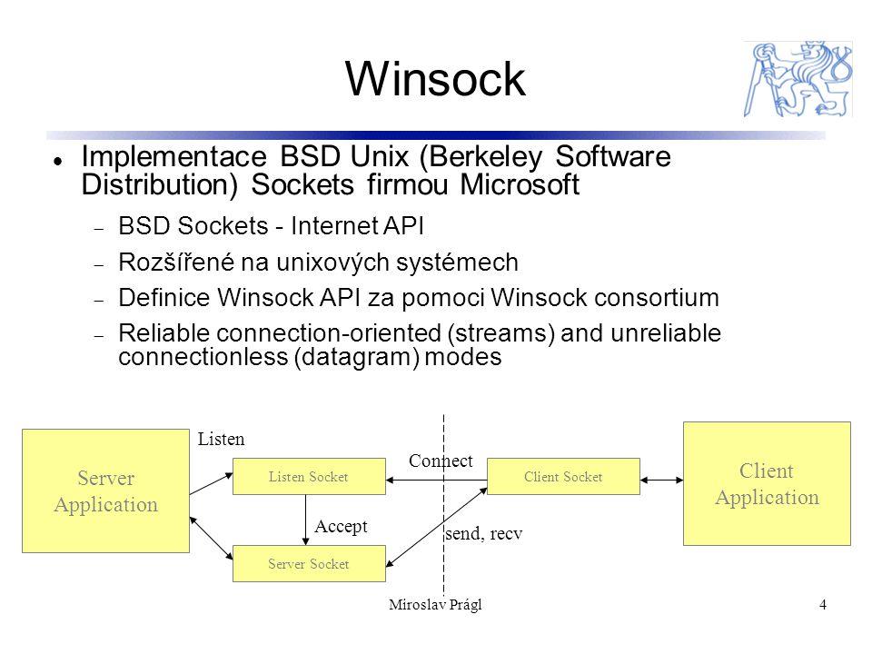 4 Winsock Implementace BSD Unix (Berkeley Software Distribution) Sockets firmou Microsoft  BSD Sockets - Internet API  Rozšířené na unixových systém