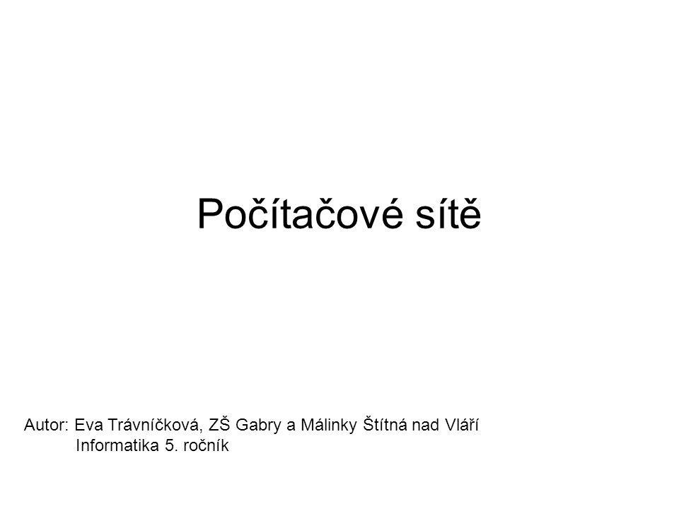 Počítačové sítě Autor: Eva Trávníčková, ZŠ Gabry a Málinky Štítná nad Vláří Informatika 5. ročník