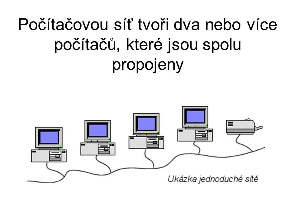 Počítačovou síť tvoři dva nebo více počítačů, které jsou spolu propojeny