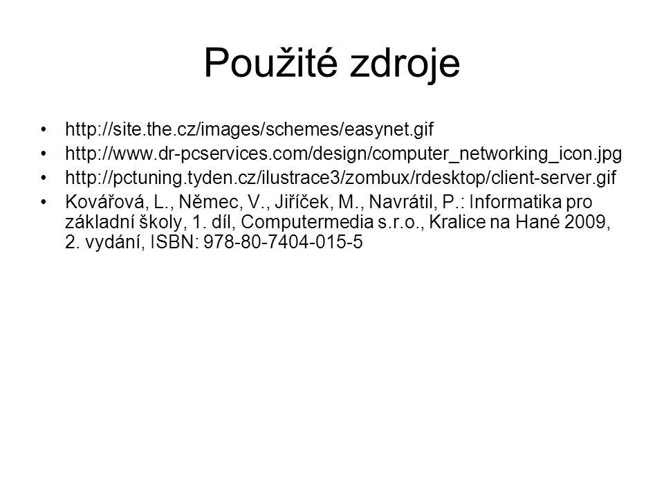 Použité zdroje http://site.the.cz/images/schemes/easynet.gif http://www.dr-pcservices.com/design/computer_networking_icon.jpg http://pctuning.tyden.cz/ilustrace3/zombux/rdesktop/client-server.gif Kovářová, L., Němec, V., Jiříček, M., Navrátil, P.: Informatika pro základní školy, 1.