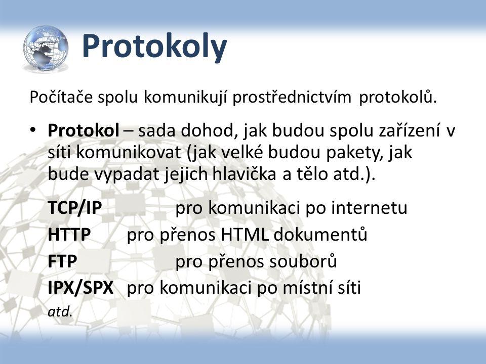 Protokoly Počítače spolu komunikují prostřednictvím protokolů. Protokol – sada dohod, jak budou spolu zařízení v síti komunikovat (jak velké budou pak