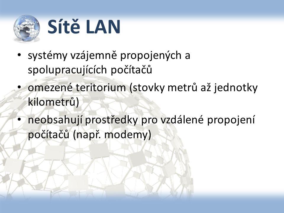 Sítě LAN systémy vzájemně propojených a spolupracujících počítačů omezené teritorium (stovky metrů až jednotky kilometrů) neobsahují prostředky pro vz