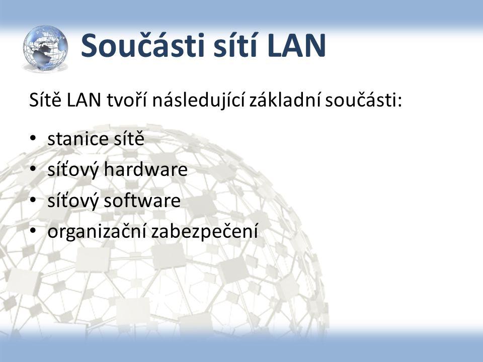 Součásti sítí LAN Sítě LAN tvoří následující základní součásti: stanice sítě síťový hardware síťový software organizační zabezpečení