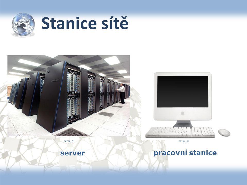Stanice sítě server pracovní stanice zdroj [5]zdroj [4]