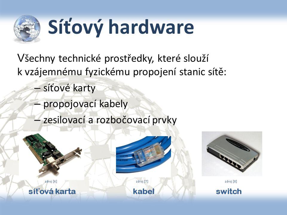 Síťový hardware V šechny technické prostředky, které slouží k vzájemnému fyzickému propojení stanic sítě: – síťové karty – propojovací kabely – zesilo