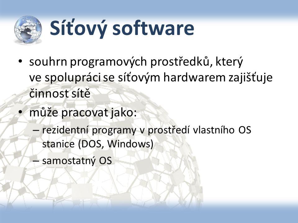 Síťový software souhrn programových prostředků, který ve spolupráci se síťovým hardwarem zajišťuje činnost sítě může pracovat jako: – rezidentní progr