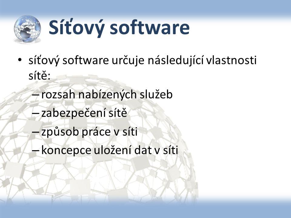 Síťový software síťový software určuje následující vlastnosti sítě: – rozsah nabízených služeb – zabezpečení sítě – způsob práce v síti – koncepce ulo