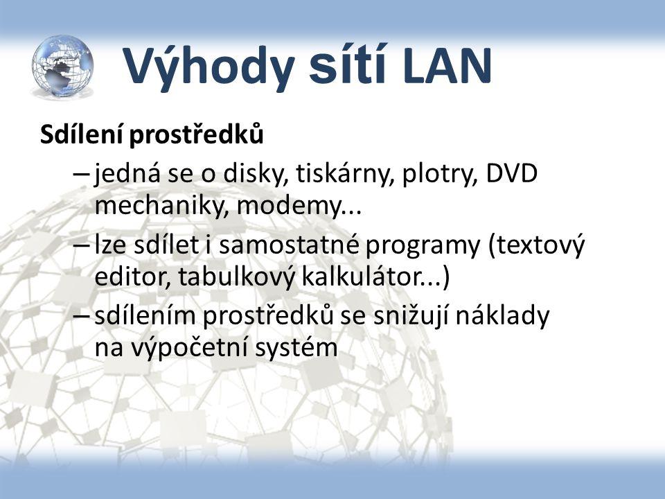 Výhody sítí LAN Sdílení prostředků – jedná se o disky, tiskárny, plotry, DVD mechaniky, modemy... – lze sdílet i samostatné programy (textový editor,