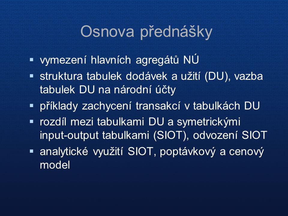  vymezení hlavních agregátů NÚ  struktura tabulek dodávek a užití (DU), vazba tabulek DU na národní účty  příklady zachycení transakcí v tabulkách