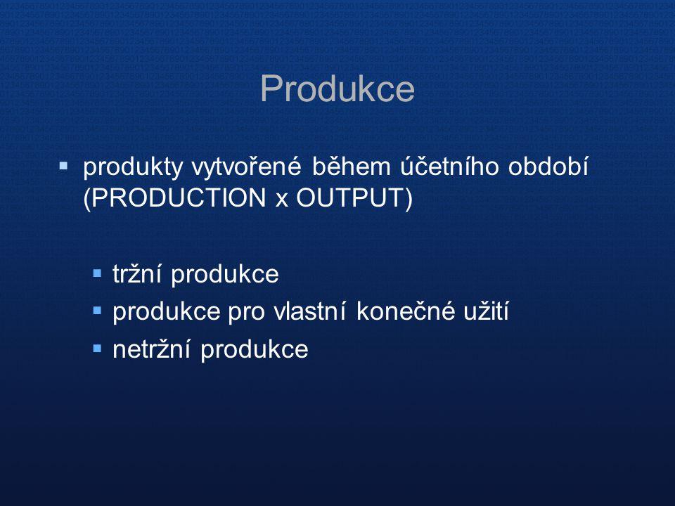 Produkce  produkty vytvořené během účetního období (PRODUCTION x OUTPUT)  tržní produkce  produkce pro vlastní konečné užití  netržní produkce