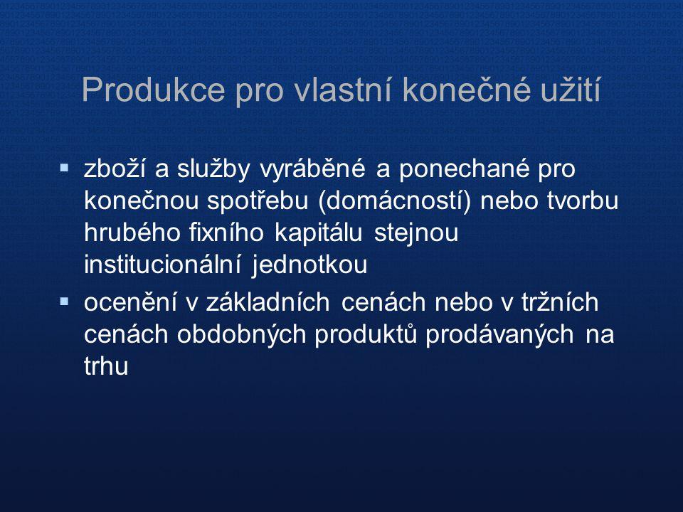 Produkce pro vlastní konečné užití  zboží a služby vyráběné a ponechané pro konečnou spotřebu (domácností) nebo tvorbu hrubého fixního kapitálu stejn