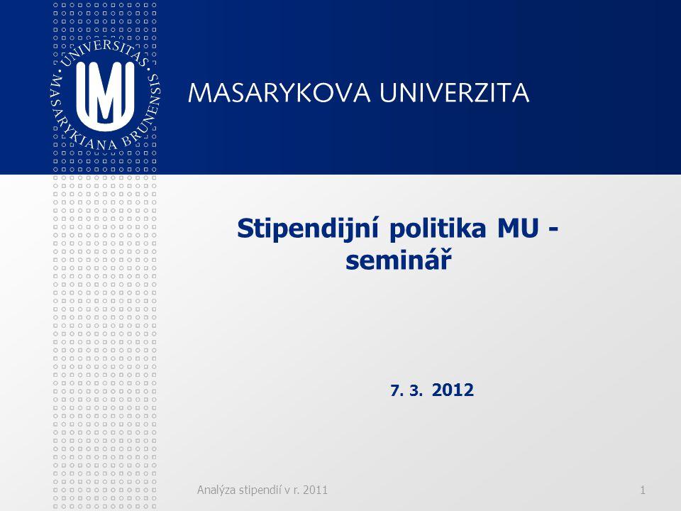 Analýza stipendií v r. 20111 Stipendijní politika MU - seminář 7. 3. 2012