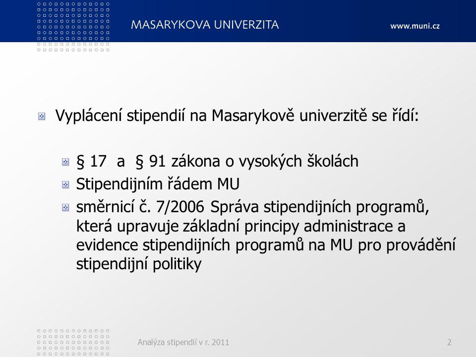 Analýza stipendií v r.20113 Druhy vyplácených stipendií (upravuje § 91 zák.