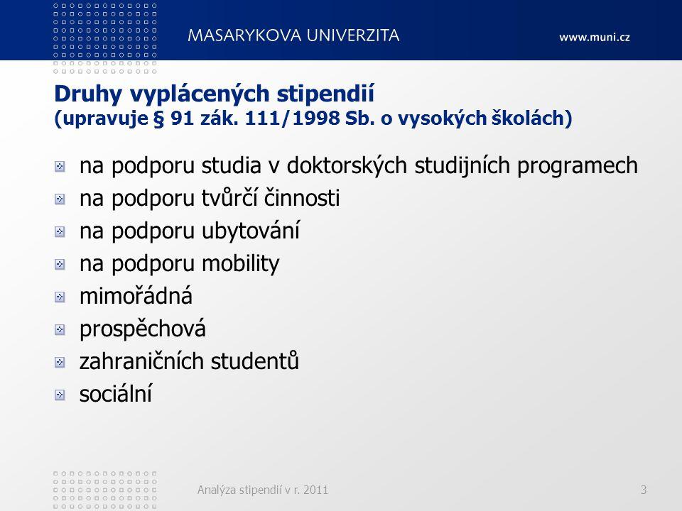 Analýza stipendií v r. 20113 Druhy vyplácených stipendií (upravuje § 91 zák.