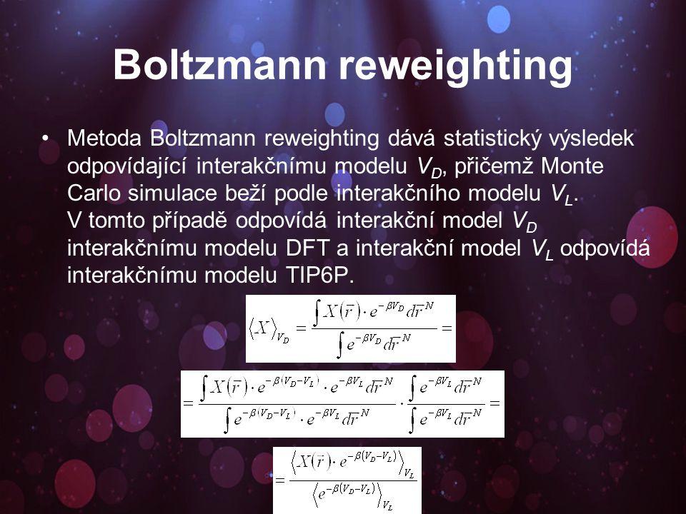 Boltzmann reweighting Metoda Boltzmann reweighting dává statistický výsledek odpovídající interakčnímu modelu V D, přičemž Monte Carlo simulace beží podle interakčního modelu V L.