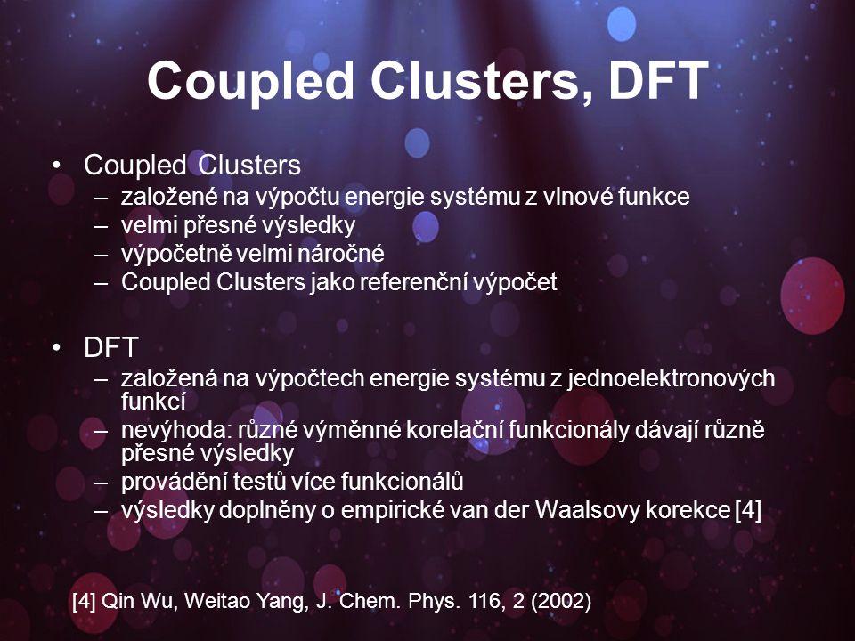 Coupled Clusters, DFT Coupled Clusters –založené na výpočtu energie systému z vlnové funkce –velmi přesné výsledky –výpočetně velmi náročné –Coupled Clusters jako referenční výpočet DFT –založená na výpočtech energie systému z jednoelektronových funkcí –nevýhoda: různé výměnné korelační funkcionály dávají různě přesné výsledky –provádění testů více funkcionálů –výsledky doplněny o empirické van der Waalsovy korekce [4] [4] Qin Wu, Weitao Yang, J.