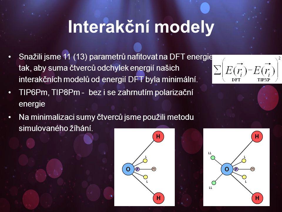 Interakční modely Snažili jsme 11 (13) parametrů nafitovat na DFT energie tak, aby suma čtverců odchylek energií našich interakčních modelů od energií DFT byla minimální.