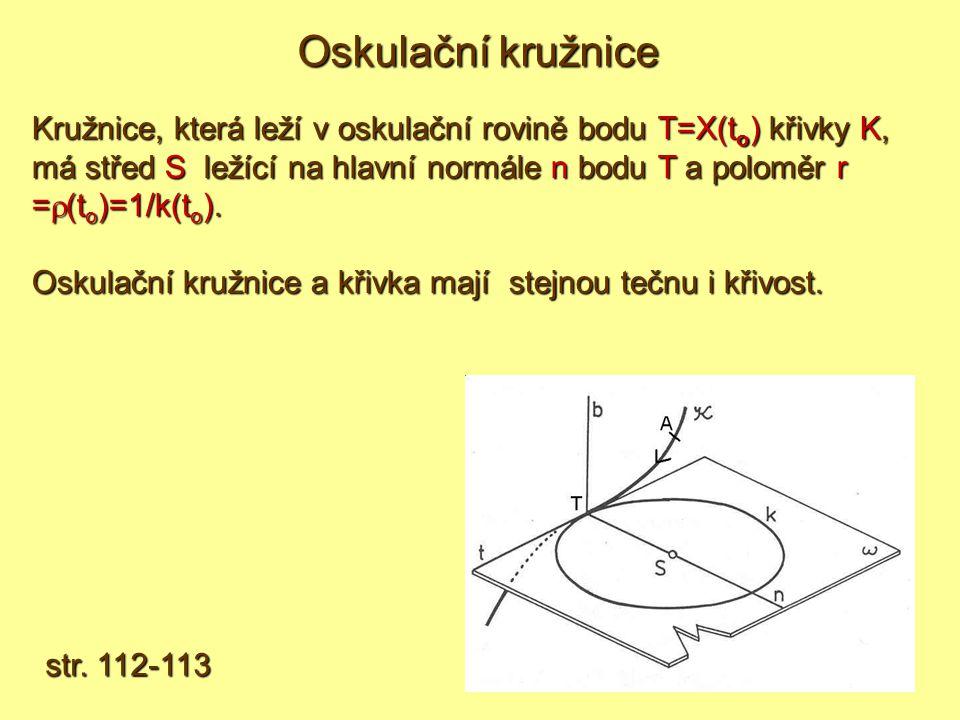Kružnice, která leží v oskulační rovině bodu T=X(to) křivky K, má střed S l l l ležící na hlavní normále n bodu T a poloměr r =(to)=1/k(to).