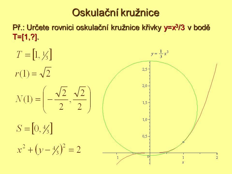 Př.: Určete rovnici oskulační kružnice křivky y=x 3 /3 v bodě T=[1,?].