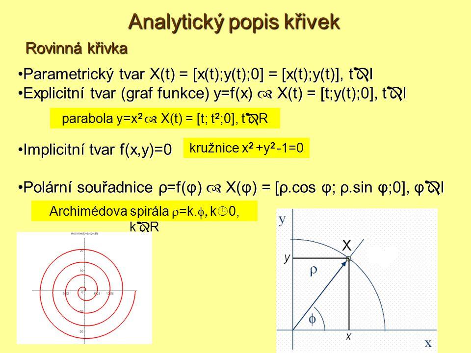 Parametrický tvar X(t) = [x(t);y(t);0] = [x(t);y(t)], t  IParametrický tvar X(t) = [x(t);y(t);0] = [x(t);y(t)], t  I Explicitní tvar (graf funkce) y=f(x)  X(t) = [t;y(t);0], t  IExplicitní tvar (graf funkce) y=f(x)  X(t) = [t;y(t);0], t  I Implicitní tvar f(x,y)=0Implicitní tvar f(x,y)=0 Polární souřadnice ρ=f(φ)  X(φ) = [ρ.cos φ; ρ.sin φ;0], φ  IPolární souřadnice ρ=f(φ)  X(φ) = [ρ.cos φ; ρ.sin φ;0], φ  I Rovinná křivka kružnice x 2 +y 2 -1=0 parabola y=x 2  X(t) = [t; t 2 ;0], t  R Archimédova spirála  =k.