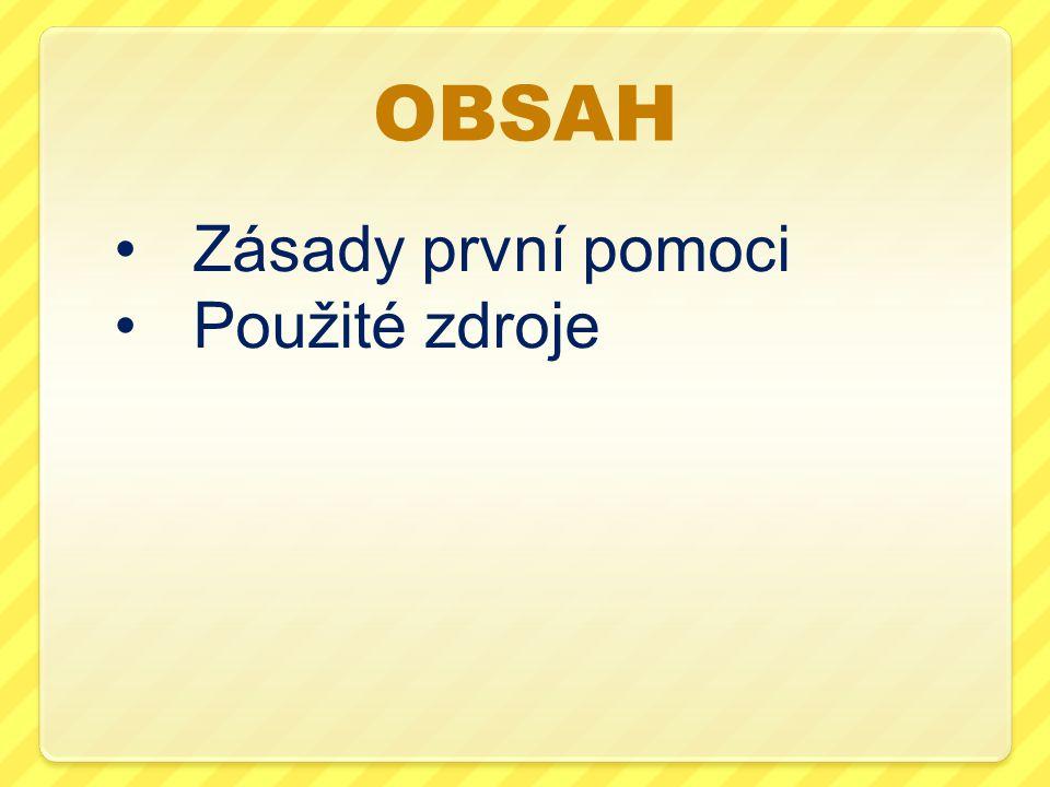 OBSAH Zásady první pomoci Použité zdroje