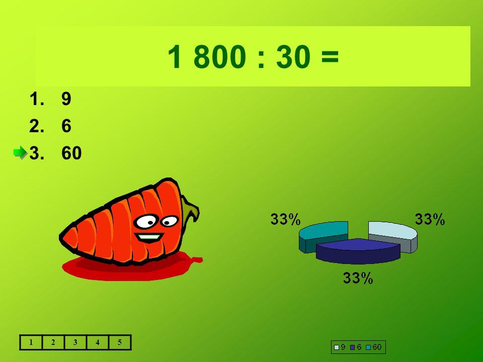 Vložte text otázky... 1 800 : 30 = 1.9 2.6 3.60 12345