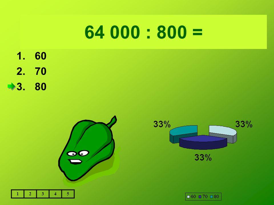 Vložte text otázky... 64 000 : 800 = 1.60 2.70 3.80 12345