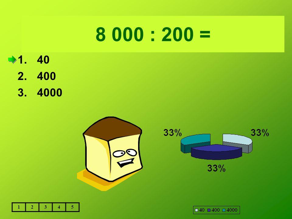 Vložte text otázky... 8 000 : 200 = 12345 1.40 2.400 3.4000