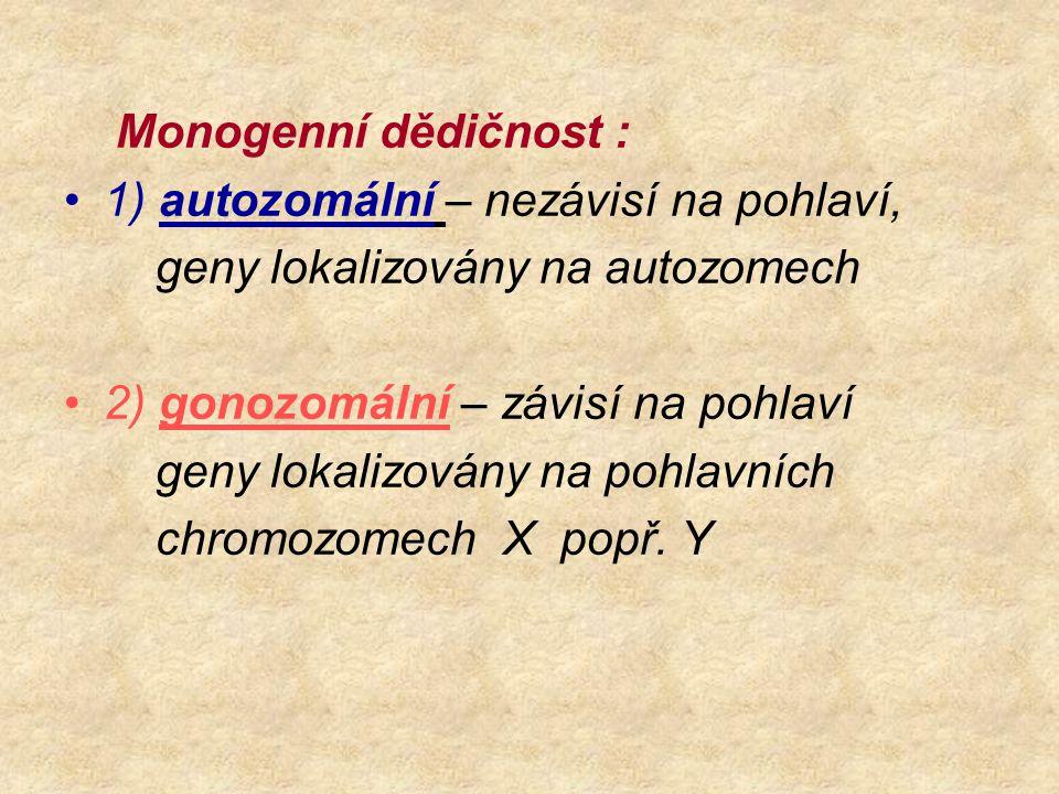 Monogenní dědičnost : 1) autozomální – nezávisí na pohlaví, geny lokalizovány na autozomech 2) gonozomální – závisí na pohlaví geny lokalizovány na po