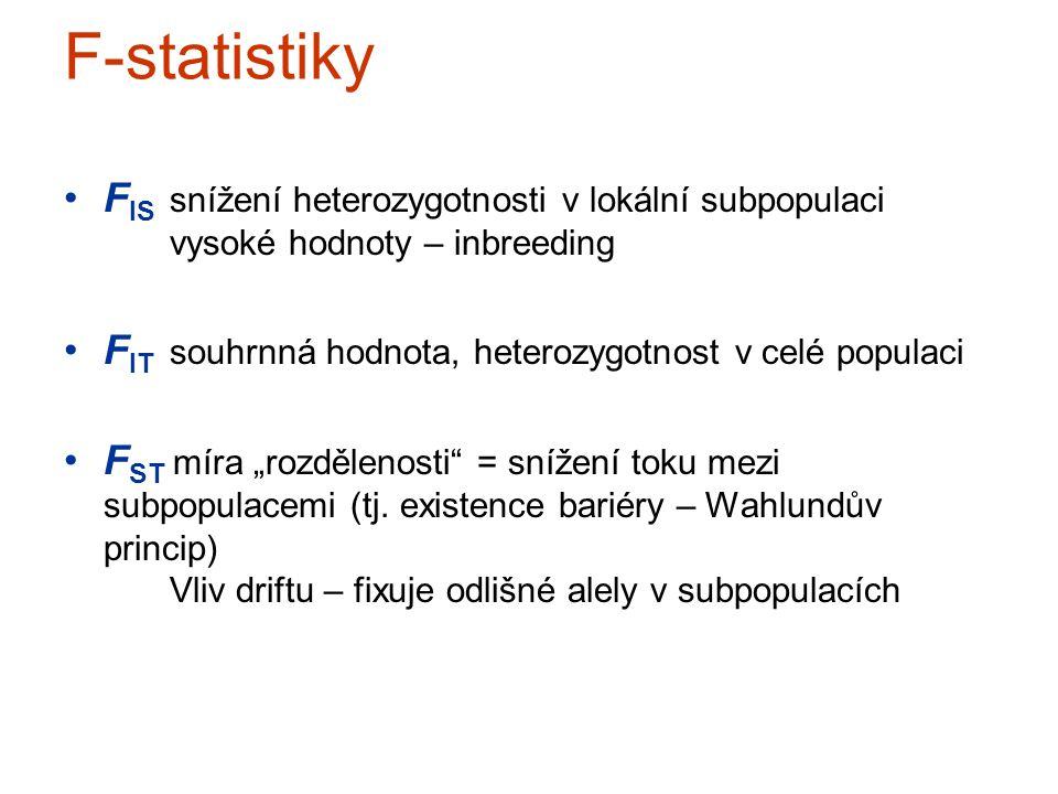 F-statistiky F IS snížení heterozygotnosti v lokální subpopulaci vysoké hodnoty – inbreeding F IT souhrnná hodnota, heterozygotnost v celé populaci F