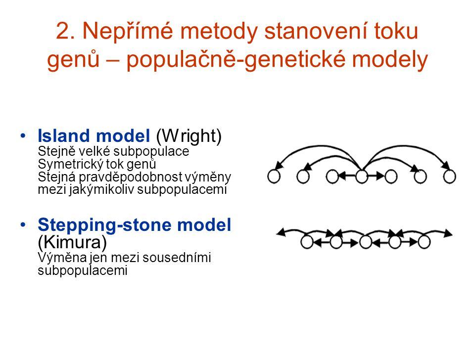 2. Nepřímé metody stanovení toku genů – populačně-genetické modely Island model (Wright) Stejně velké subpopulace Symetrický tok genů Stejná pravděpod