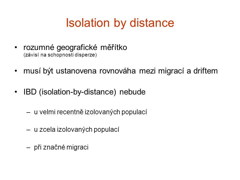 Isolation by distance rozumné geografické měřítko (závisí na schopnosti disperze) musí být ustanovena rovnováha mezi migrací a driftem IBD (isolation-
