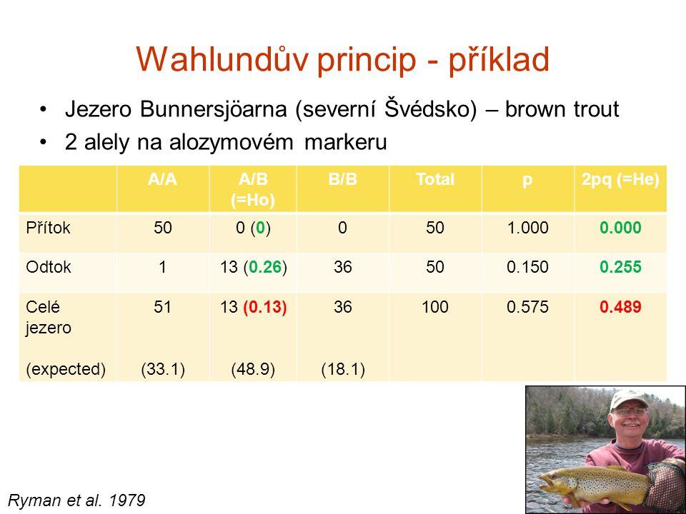 Wahlundův princip - příklad Jezero Bunnersjöarna (severní Švédsko) – brown trout 2 alely na alozymovém markeru A/AA/B (=Ho) B/BTotalp2pq (=He) Přítok5