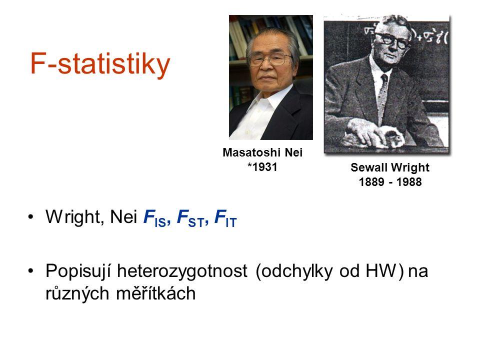 F-statistiky Wright, Nei F IS, F ST, F IT Popisují heterozygotnost (odchylky od HW) na různých měřítkách Sewall Wright 1889 - 1988 Masatoshi Nei *1931
