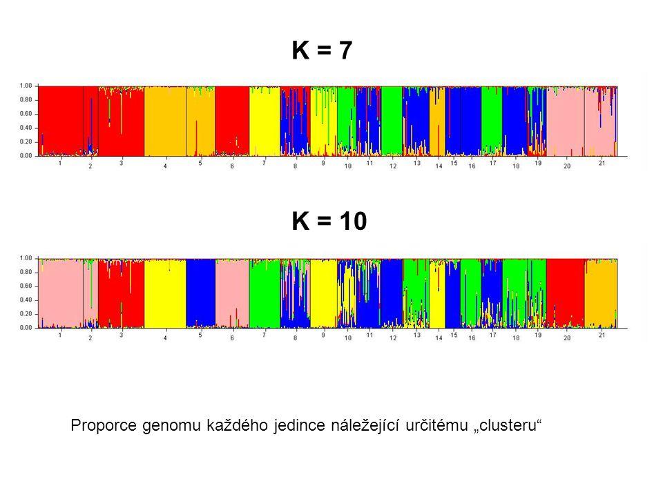 """K = 7 K = 10 Proporce genomu každého jedince náležející určitému """"clusteru"""""""