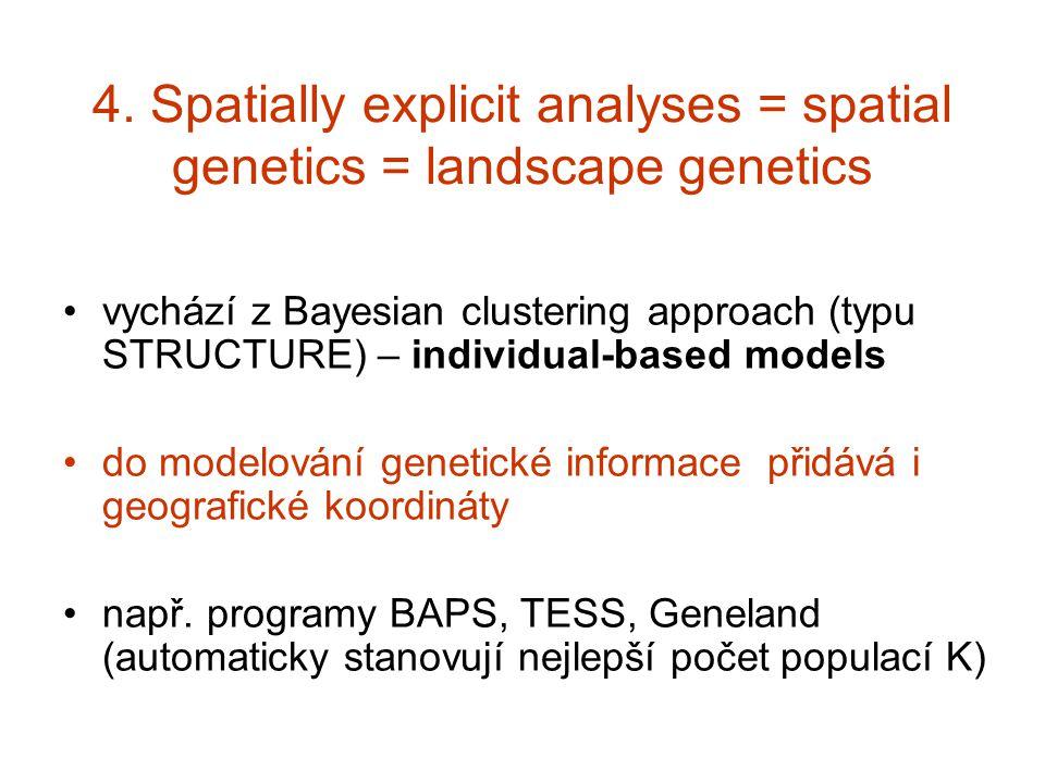 4. Spatially explicit analyses = spatial genetics = landscape genetics vychází z Bayesian clustering approach (typu STRUCTURE) – individual-based mode