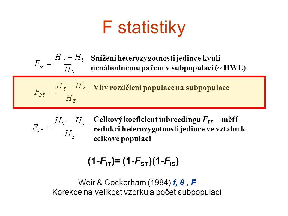 F statistiky Snížení heterozygotnosti jedince kvůli nenáhodnému páření v subpopulaci (~ HWE) Vliv rozdělení populace na subpopulace Celkový koeficient