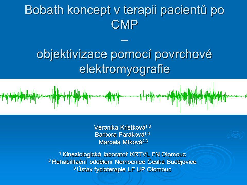 Objektivizace terapeutických prvků – metodika měření  pEMG – 16ti kanálový přístroj Myosystem 1400, fa Noraxon   software MyoVideo 1.3, synchronizace záznamu s videokamerou  svaly – ES Thp, LD, OAE, RF, Gmed, BF, TA, Gastmed  úprava, zpracování a vyhodnocení záznamu – software Myosystem 2.10 (rektifikace, smoothing RMS 25ms, hodnocený parametr Mean Amplitude)  zpracování získaných dat – MS Excell
