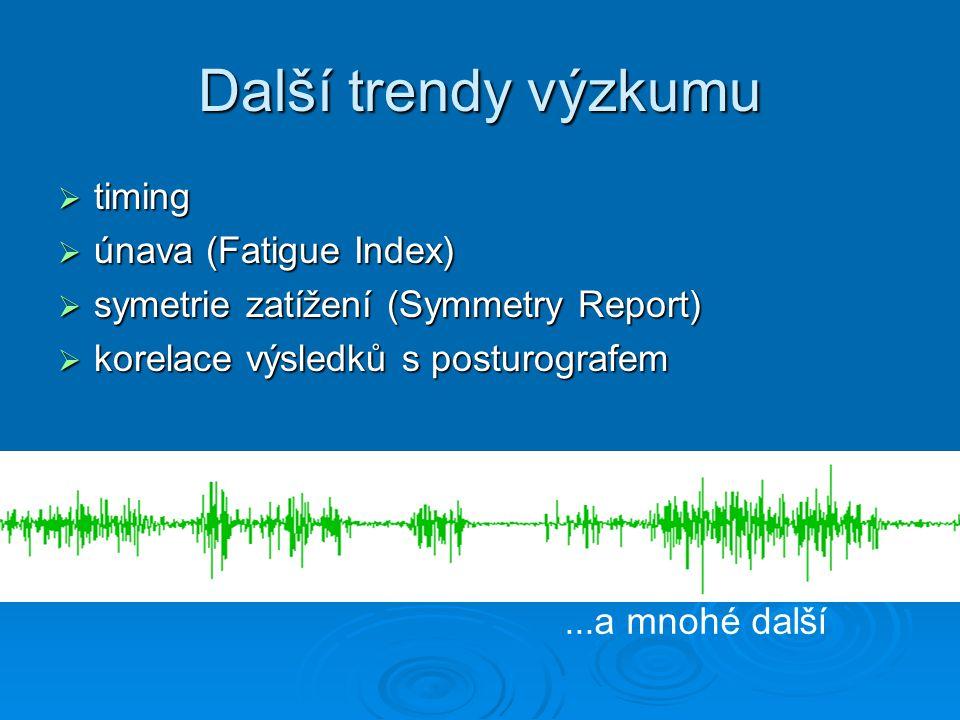 Další trendy výzkumu  timing  únava (Fatigue Index)  symetrie zatížení (Symmetry Report)  korelace výsledků s posturografem...a mnohé další