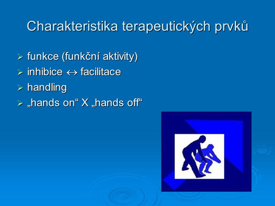 """Charakteristika terapeutických prvků  funkce (funkční aktivity)  inhibice  facilitace  handling  """"hands on X """"hands off"""