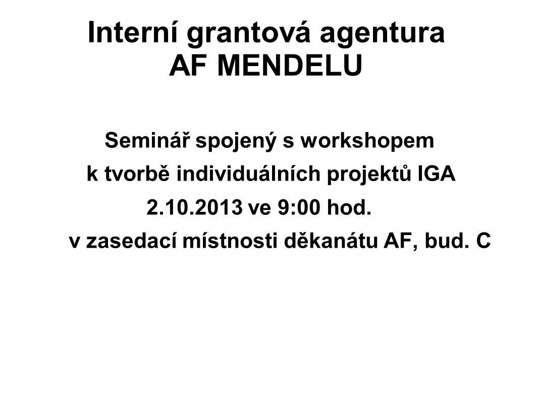 Interní grantová agentura AF MENDELU Seminář spojený s workshopem k tvorbě individuálních projektů IGA 2.10.2013 ve 9:00 hod. v zasedací místnosti děk