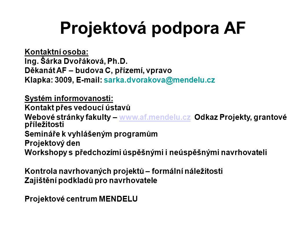 Projektová podpora AF Kontaktní osoba: Ing. Šárka Dvořáková, Ph.D. Děkanát AF – budova C, přízemí, vpravo Klapka: 3009, E-mail: sarka.dvorakova@mendel
