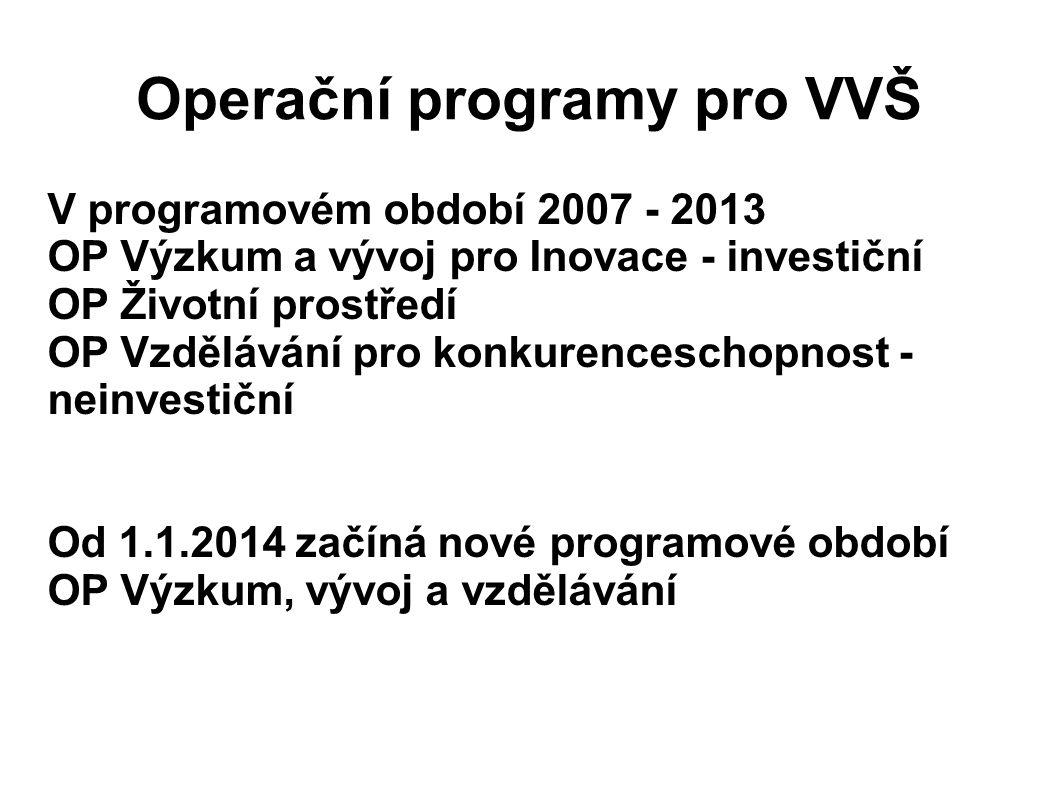 Operační programy pro VVŠ V programovém období 2007 - 2013 OP Výzkum a vývoj pro Inovace - investiční OP Životní prostředí OP Vzdělávání pro konkurenceschopnost - neinvestiční Od 1.1.2014 začíná nové programové období OP Výzkum, vývoj a vzdělávání