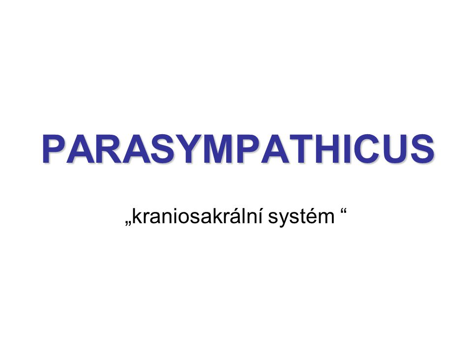 """PARASYMPATHICUS """"kraniosakrální systém """""""