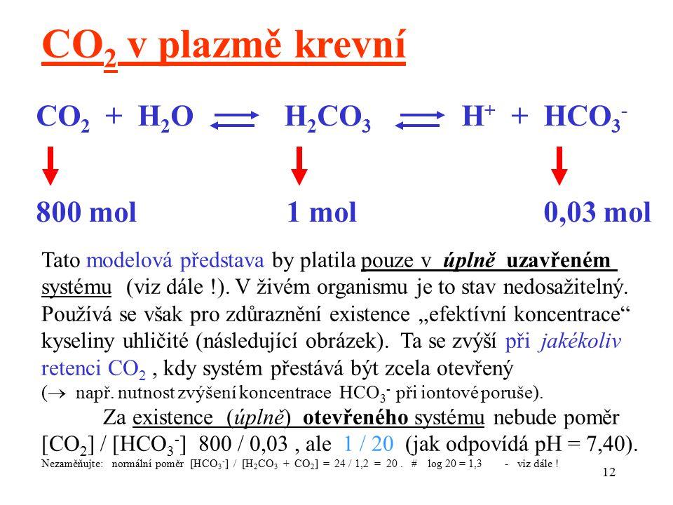 12 CO 2 + H 2 O H 2 CO 3 H + + HCO 3 - 800 mol 1 mol 0,03 mol CO 2 v plazmě krevní Tato modelová představa by platila pouze v úplně uzavřeném systému